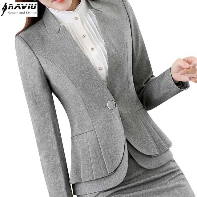 NAVIU Elegant and Fashion Women Blazers Autumn Temperament Long Sleeve Black Gray Jacket Office Ladies Plus Size Work Wear Coat