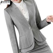NAVIU Elegante e alla Moda Delle Donne Giacche Autunno Temperamento Manica Lunga Nero Grigio Giacca Ufficio Delle Signore Più Il Formato di Usura del Lavoro cappotto