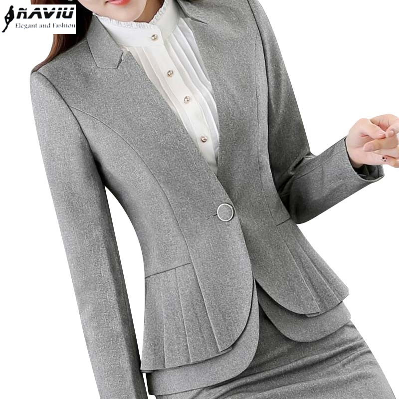 Naviu Elegant And Fashion Women Blazers Autumn Temperament Long-Sleeve Black Gray Jacket Office Ladies Plus Size Work Wear Coat