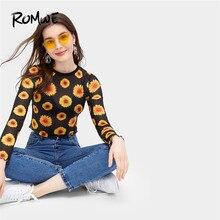 a54d99e36b1 ROMWE Black Floral Print Sheer Tee Women Summer 2019 Long Sleeve Round Neck  Boho Crop Slim