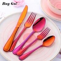 20/30PCS Stainless Steel Luxury Cutlery Set Orange Red Flatware Sets Rainbow Gold Dinner Knife Fork Spoon Tableware Set C159A
