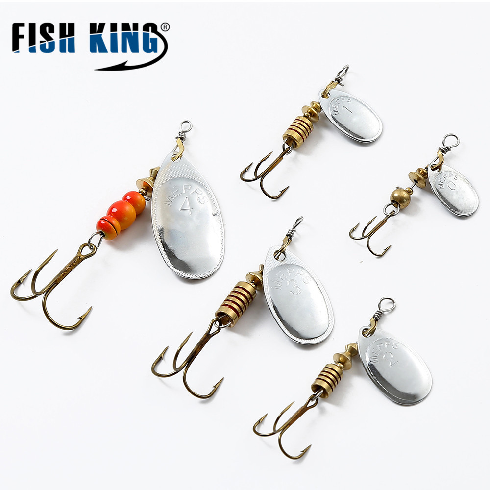PESCE KING Mepps 1PC Size1-Size4 Amo da pesca Mepps Spinner Esche da pesca Con Knife-orged Treble Hooks Bulk Fishing Tackle Pesca