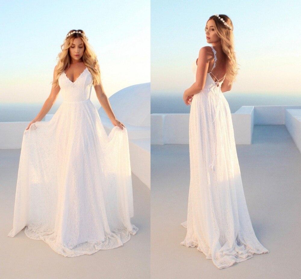 New Beach Wedding Dress 18 vestido de noiva Plus Size Spaghetti Straps  Lace Wedding Gowns Bridal Dresses