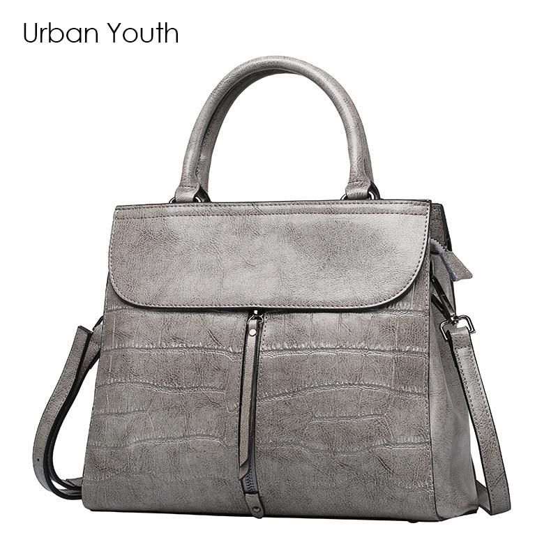 все цены на Urban Youth Brand Luxury Bag Genuine Leather Handbag Fashion Lady Bag Top-Handle Zipper Soft Bag Bolsa femenina 2017 New в интернете