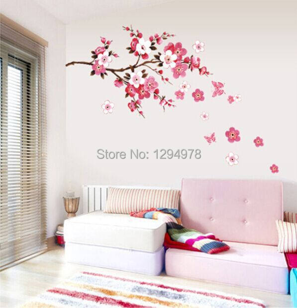 Pink Flowers Butterfly Bathroom Decor Removable Large Wall Stickers  Princess Love Room Decoration Wall Art Poster Mirror Decals