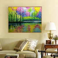 1Pcs Handpainted Street Walking Pictures Painting Lover Couples Tree Lamp Landscape Oil Painting Handmade Wall Art Unframed