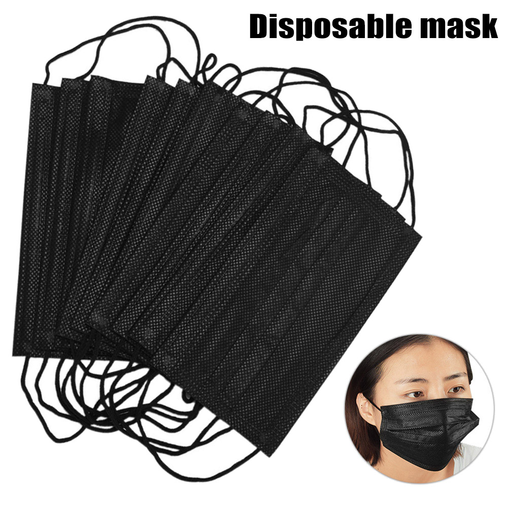 10/50Pcs Disposable Black Cotton Mouth Fac Mask Medical Mask Dental Anti-Dust Face Surgical Masks Filter Earloop Activated Carb