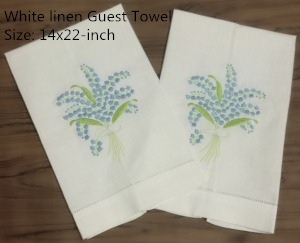 Set Of 12 Handkerchiefs White Linen Hemstitched Tea Towel -14x22