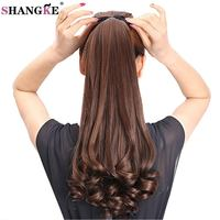 SHANGKE HAIR 22 Long Kinky Curly Synthetic Ponytail Light Brown Drawstring Ponytail Hair Extensions Heat Resistant