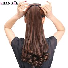 hot deal buy shangke hair 22'' long kinky curly synthetic ponytail light brown drawstring ponytail hair extensions heat resistant hair tail