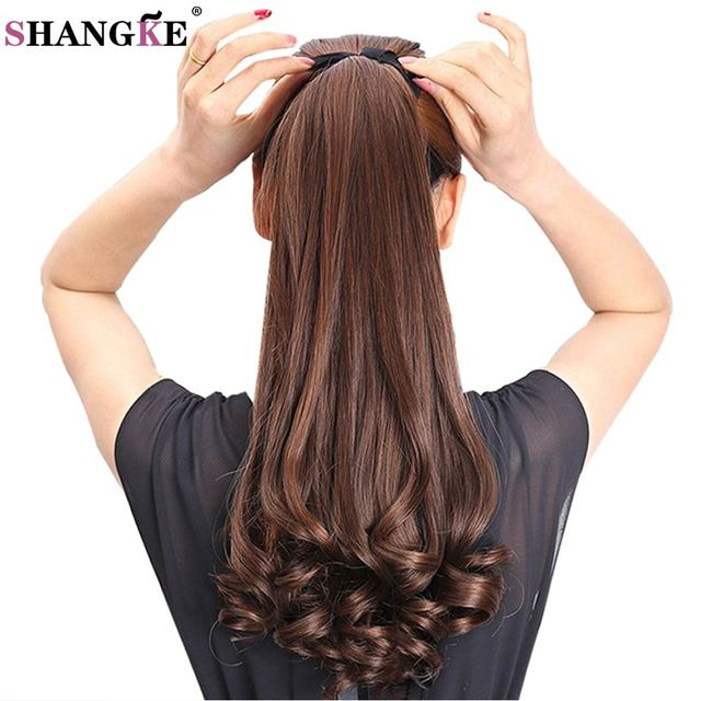 Shangke Hair 22 Long Curly Synthetic Ponytail Light Brown