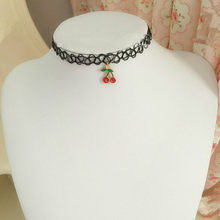 New Fashion Fish Tattoo Cherry Trendy Sexy Hollow Flower Pendant Water Drop Chokers Necklace Collar Jewellry Women Jewelry(China)