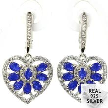 Real 6.9g 925 Solid Sterling Silver Ravishing Heart Shape Blue Sapphire CZ SheCrown Earrings 35x18mm