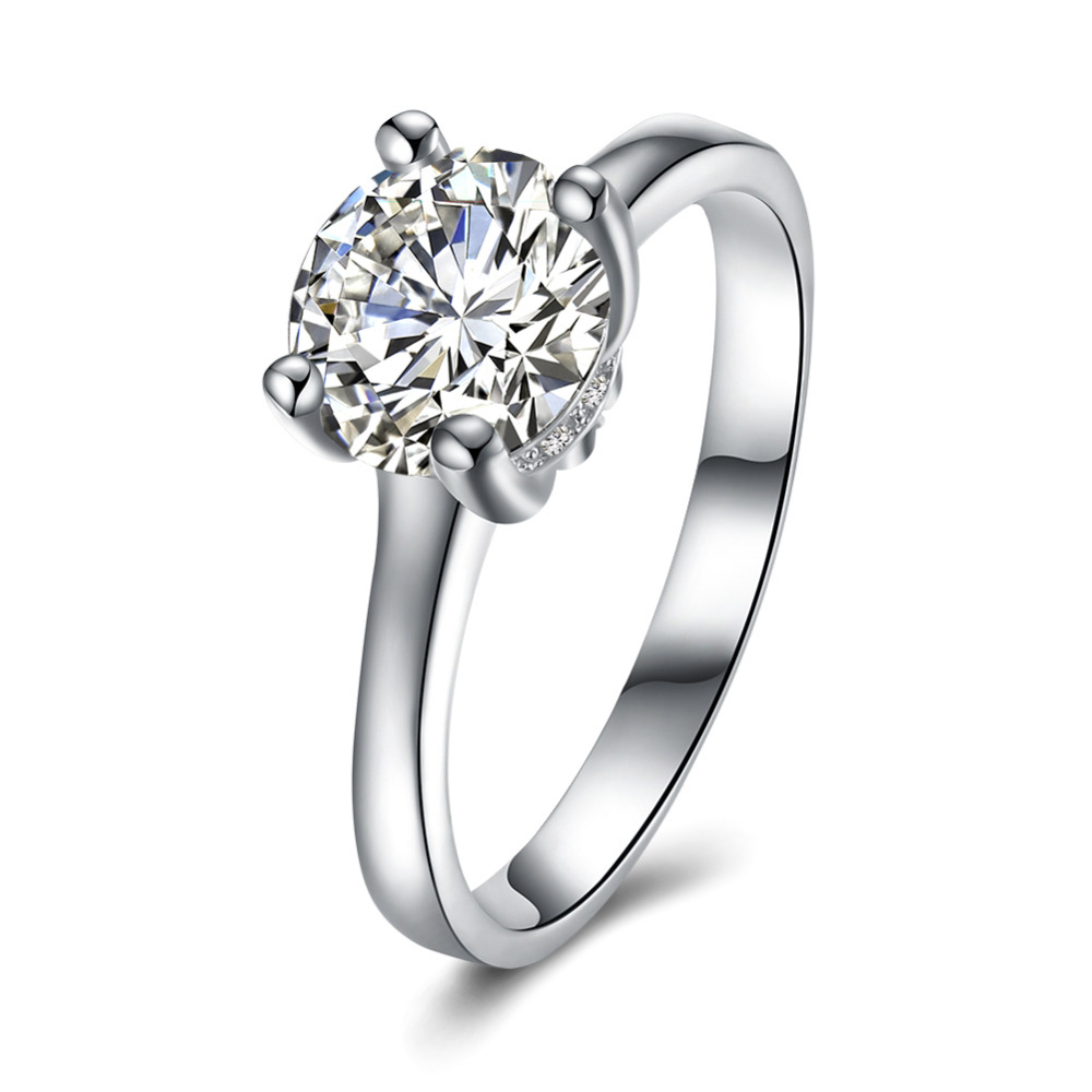 YUEYIN Romantic Authentic 925 Sterling Silver Sparkling Blooming square CZ Finger Rings for Women Wedding Engagement Jewelry