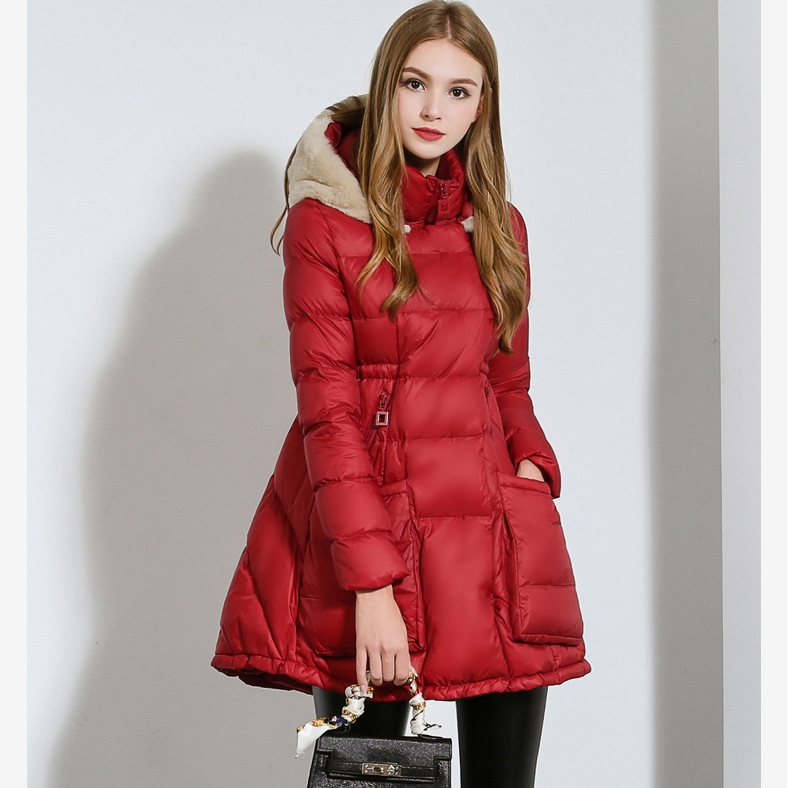 2015 Winter New Cape-Style Down Jacket Fashion Detachable Fur Hat Korean  Coat Big Size Long Section Waist Down jacket