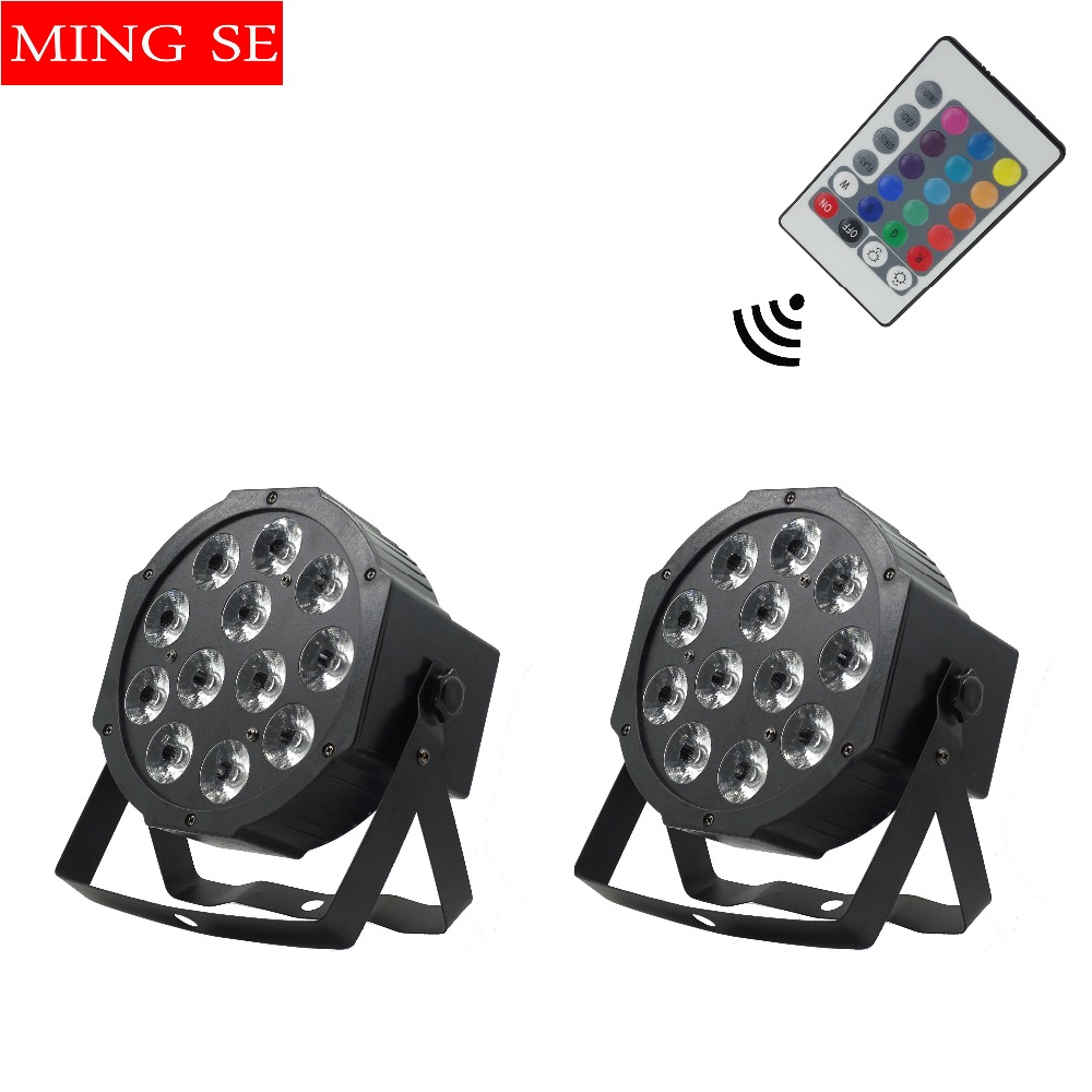 2pcs/lots 12x12w Remote Flat Par Led Flat White Led Par Light 12*12W Smooth RGBW Color Mixing DMX 4/8 Channels Stage Wash
