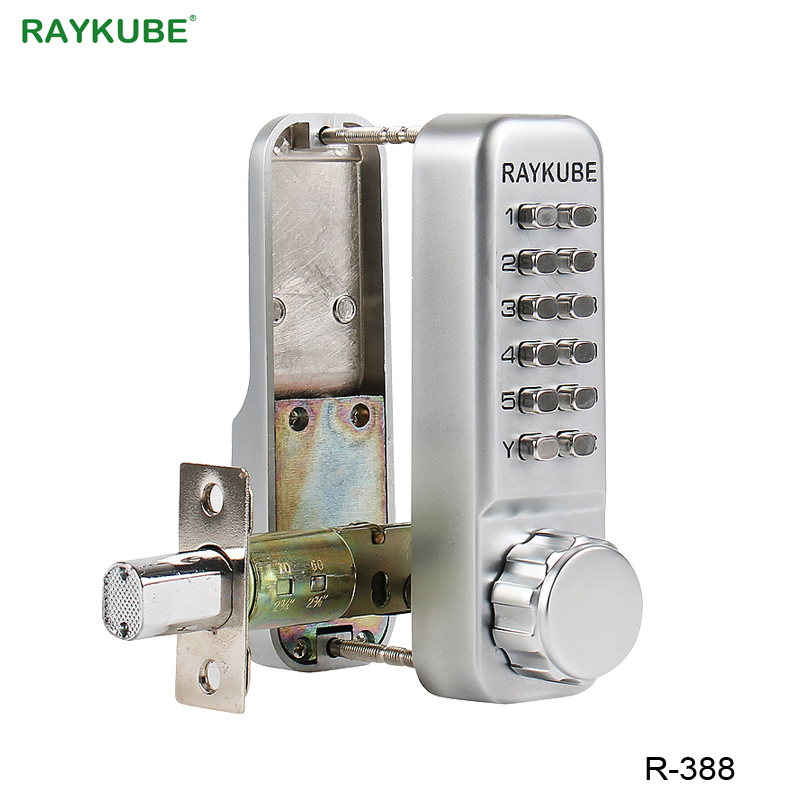 RAYKUBE Waterproof Password Door Lock With Deadbolt Keyless Digital Mechanical Lock For Office Home R-388
