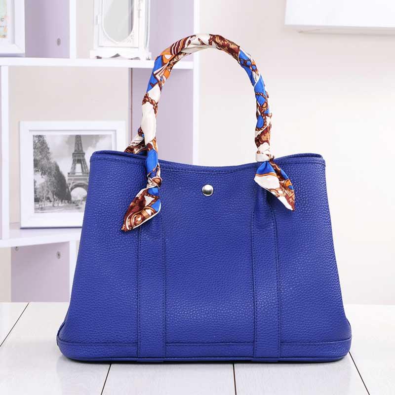 Genuine Leather Handbags Real Cow Leather Litchi Grain Women Bags Fashion Large Purse Vintage Shoulder Bag