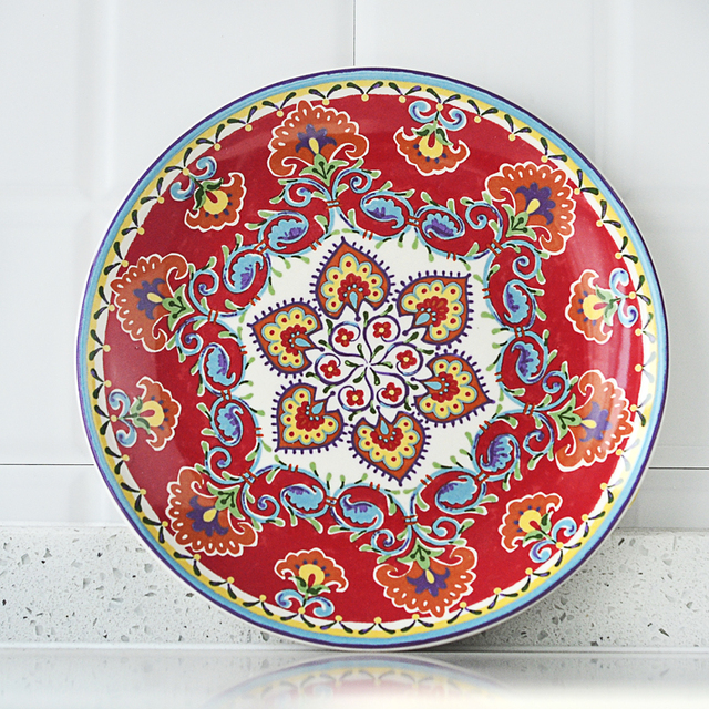 New Arrival Household Red Bohemia Ceramic Dessert Dishes Creative Bright Ethnic Style Steak Flat Plate Decorative  sc 1 st  AliExpress.com & New Arrival Household Red Bohemia Ceramic Dessert Dishes Creative ...