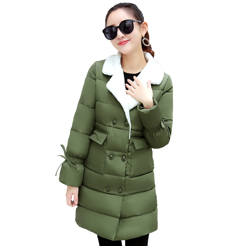 IOQRCJV Women Jackets Padded Down Cotton Coat 2018 Winter Overcoat Long Female Cotton Padded   Parkas   Long Warm Outwear Coats F142