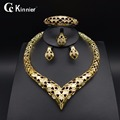 Fashion jewelry set Bridal Nigeria Dubai gold plated wedding jewelry set African beads jewelry Necklace Bangle Earring Ring