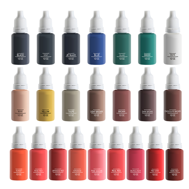 23Bottle 1/2oz Tattoo Ink Pigment For Permanent Makeup Easy To Wear Eyebrow Eyeliner Lip Body Arts Paints Tattoo Art Beauty Tool23Bottle 1/2oz Tattoo Ink Pigment For Permanent Makeup Easy To Wear Eyebrow Eyeliner Lip Body Arts Paints Tattoo Art Beauty Tool