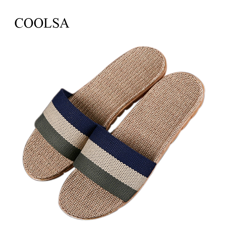 COOLSA Men's Breathable Non-slip Striped Linen Slippers Moisture Absorption Canvas Slippers Men's Flax Slides Indoor Slippers coolsa women s summer flat non slip linen slippers indoor breathable flip flops women s brand stripe flax slippers women slides