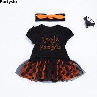 Newborn Baby Girl Clothes Autumn 2018 Halloween Outfits Short Sleeve Organic Cotton Bodysuit Rompers Skirt 2 Piece Set Wholesale