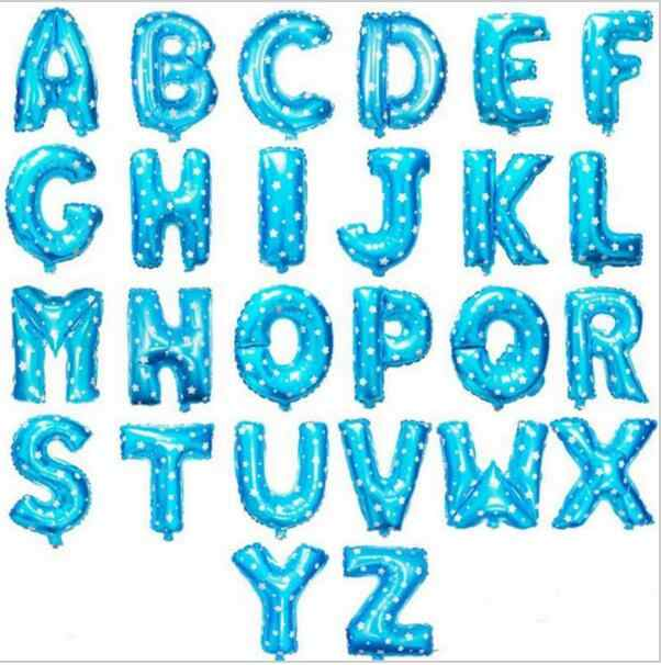 16 Inch Free Shipping Blue Letter A To Z Alphabet Foil Balloons Letter Birthday Party Wedding