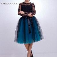 Fashion 7 Layer Midi Tulle Skirt For Girls Summer Ball Gown Elastic Waist Tutu Skirt Women