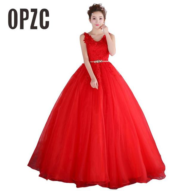 Red Romtic Tulle Flower Long Emerald Gown Lace Wedding Dresses For Party Dinner Hostess