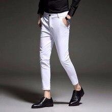 Nuevo 2019 Mens Slim Fit vestido de negocios pantalones para hombres traje  de pantalones de la longitud del tobillo de los hombr. 8c9be0703f42
