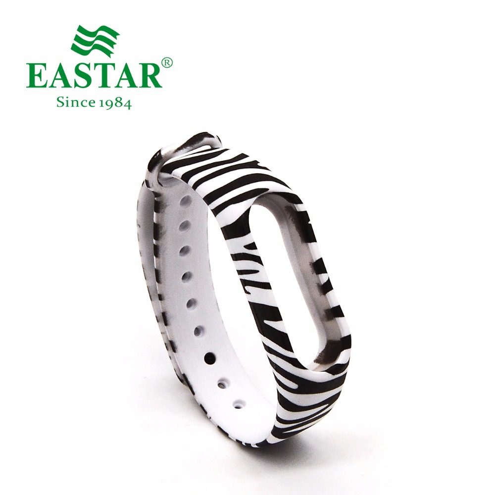 Eastar Smart Watch Strap Accessories For XiaoMI Band Colorful Replacement Wristbands Zebra Printer Silicone Band For Mi Band 2 eache silicone watch band strap replacement watch band can fit for swatch 17mm 19mm men women