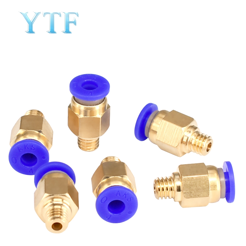 10Pcs/Lot PC4-M6 Pneumatic Straight Connector Brass Part For MK8 OD 4mm 2mm Tube For 3D Printer Part