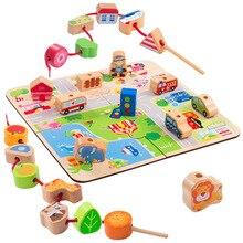 Threading Bead Building Block Wooden Toys