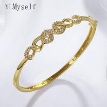 Новый Модный cz браслет белого/золотого цвета с прозрачным крошечным