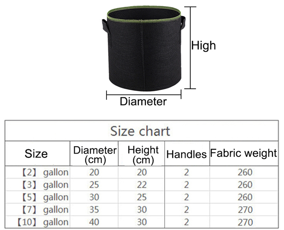 10 Gallon Gardening Grow Bag Non Woven