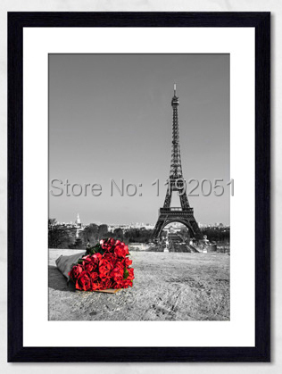canvas paintings romance eiffel tower red rose black and white pictures 1 panel home decoration. Black Bedroom Furniture Sets. Home Design Ideas