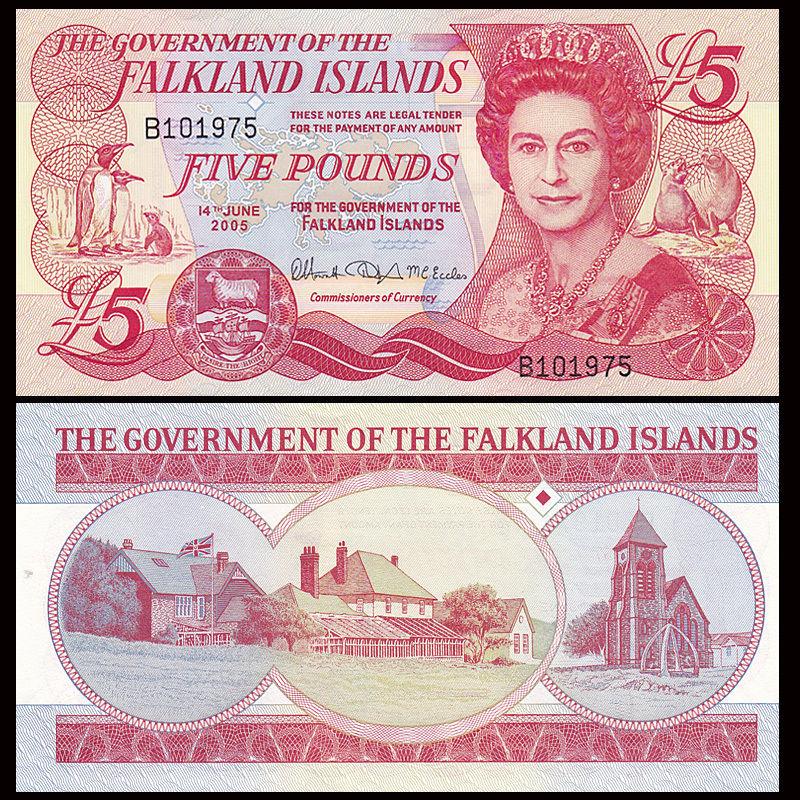2005 UNC/>QEII P-17a Falkland Islands 5 Pounds