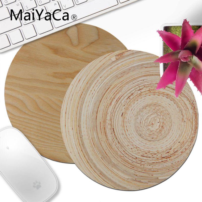 MaiYaCa Brown Wood Grain Wooden Floor Unique Desktop Pad Gaming Mousepad Keyboards Mat Gamer Gaming Mouse Pad Round Desk Mat