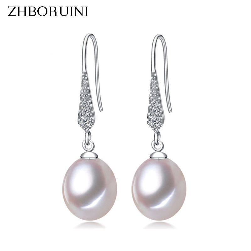 цена на ZHBORUINI 2018 Fashion Pearl Earrings Natural Freshwater Pearl Jewelry Dorp Earring 925 Sterling Silver Jewelry For Women Gift
