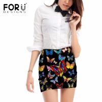 FORUDESIGNS Women Comfortable Gothic Skirt Above Knee Pencil Skirt For Office Lady Sexy 3D Beauty Butterfly