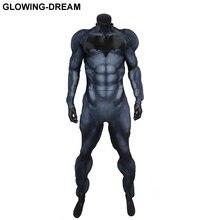 Высокое качество рельеф Летучая мышь логотип Fullbody рельеф подкладка для мышц Бэтмен Костюм новейший Бэтмен Zentai костюм вечерние для Хэллоуина