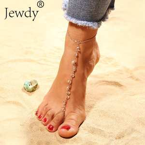 Jewdy Barefoot Sandals Anklets Chaine Cheville Leg-Jewelry Crystal Vintage Silver-Color