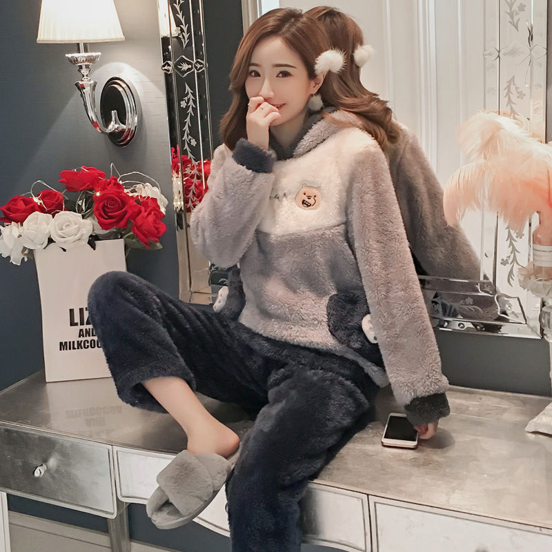 Winter Women Pajama Flannel Sleepwear Long Sleeves Hot Pajamas For Women Velvet Pajama Women Soft Clothing 75