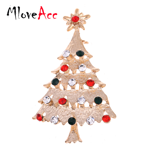 US $3.5 |MloveAcc Xmas Tree Brooches Crystal Christmas Brooch Pin Christmas Gifts Jewelry Charming New Year Gifts in Brooches from Jewelry &
