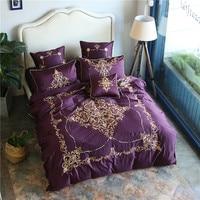 Alta qualidade de algodão Egípcio Conjunto de Cama 4/7 pcs Tampa Bordado roxo Rainha Capa de Edredão Colcha Fronha