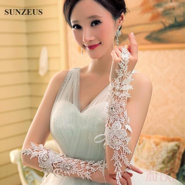 Luxo Lindo Especial Folha Laço Nupcial Luvas Longas Luvas Sem Dedos Anéis com Cercadura complementos de bodas S17