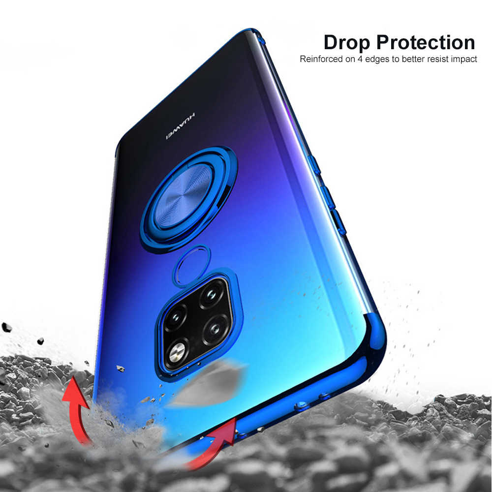 Ascromy For Huawei Mate 20 pro Soft Silicone Plating Bumper Case Cover Ring Holder Stand For Huawei P20 Lite Mate20 Mate 20 Pro