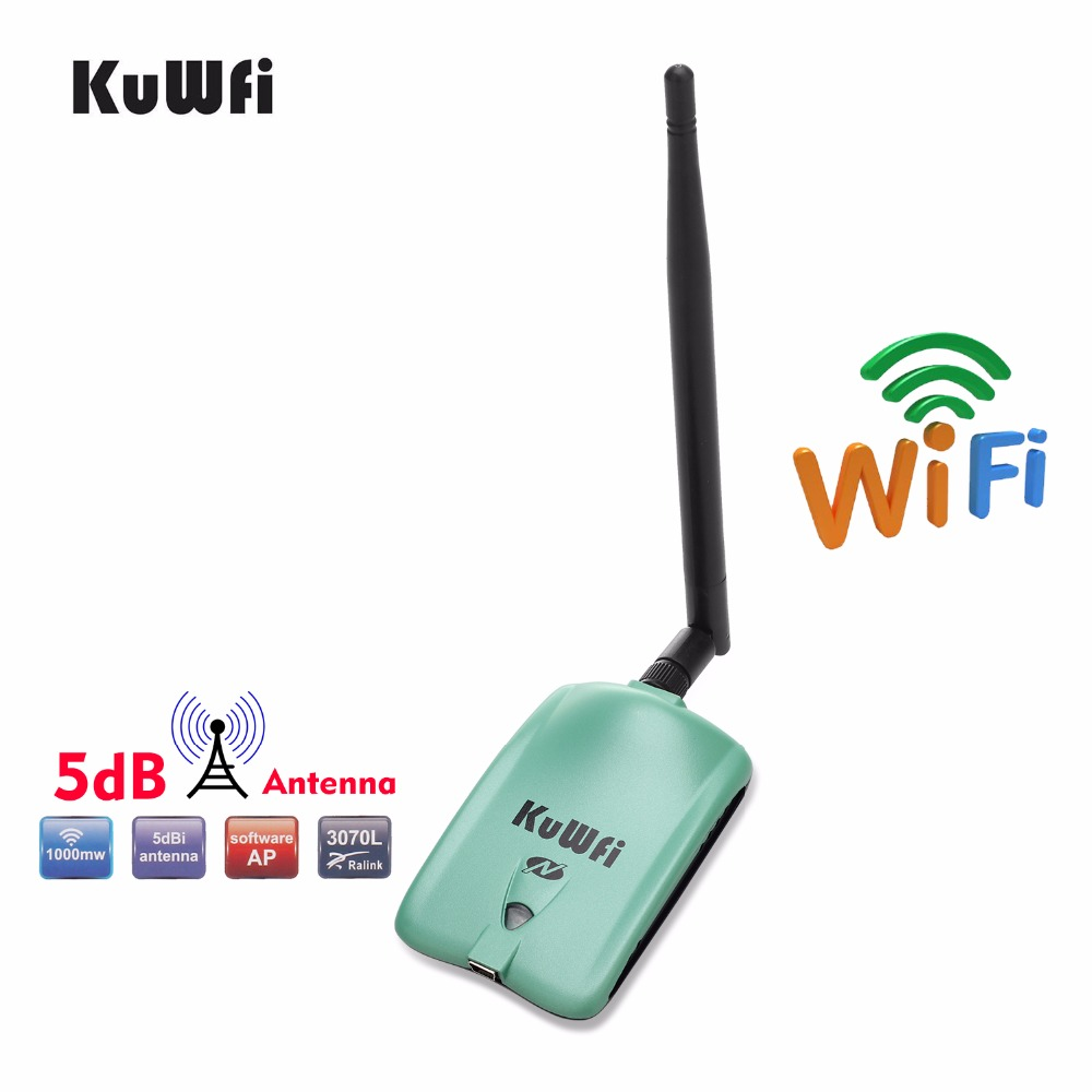 KuWfi High Power 150Mbps Wireless USB Adapter 802.11b/n/g High Speed 5dBi PC USB Wi-fi Receiver RT3070L Wireless Network Card yuanke x 8000 802 11b g n 150mbps usb wi fi wireless network adapter w external 68dbi antenna